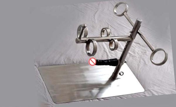 Lussuoso acciaio inossidabile bondage femmina vincoli telaio schiavo polso fisso braccio manette polsini alla caviglia dildo adulto bdsm strumenti giochi di sesso giocattolo