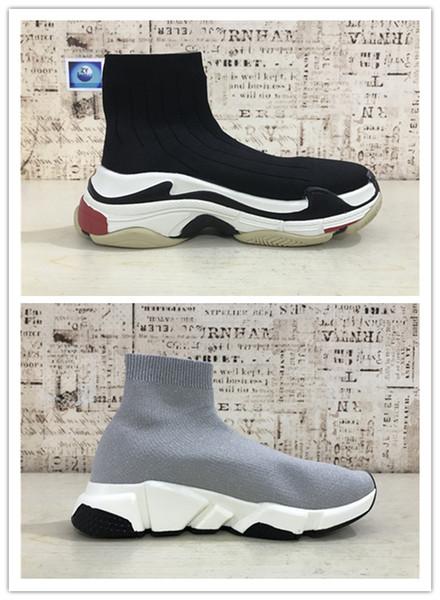 2019 HOT Triple S Paris Speed Runner rot Sockenschuh Original Luxus Trainer Runner Sneakers Race Herren Damen Sportschuhe