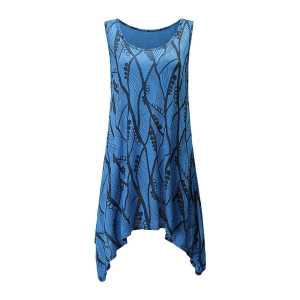 Aysmmertrical Hem Print Summer Beach Bohemian Style Dress Dresses Clothes Sleeveless Round Neck 2019 WS5555U