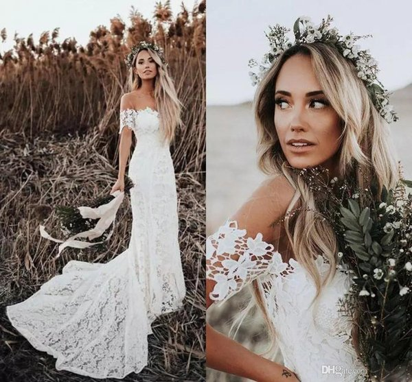 Discount Elegant Boho Lace Wedding Dresses 2019 Country Style Off The Shoulder Short Sleeves Bridal Dresses Beach Wedding Gowns Sweep Train Civil