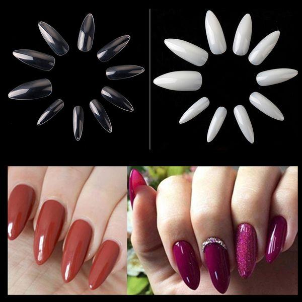 50 Packs Long Stiletto Nails 500Pcs Nail Art Tips Clear/Natural False Fake Nails Tips Manicure Artificial Wholesale A0493