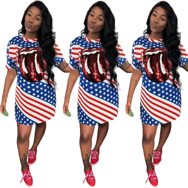 Women\'S Summer T Shirt Dress American Flag Printed Sleeveless Ladies Big  Tongue Sequin Independence Day Dresses Plus Size Clothing S 2XL Women Long  ...
