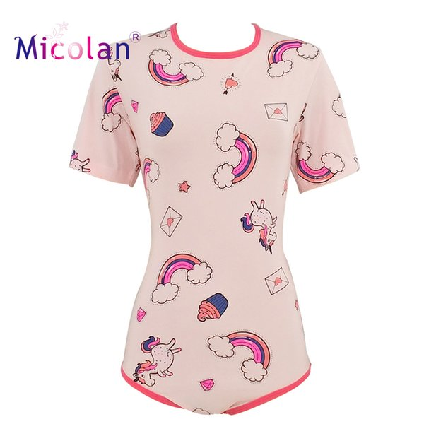 Pink/White Color 95% Cotton Material Sexy Unicorn Print Adult Baby Onesie Women Pajamas for ABDL Girl/Boy Romper Crotch