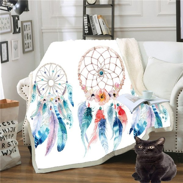 Cartoon Dreamcatcher Blanket Unicorn Super Soft Velvet Plush Floral Printed Throw for Kid Girls Sofa Couch Black Thin Quilt