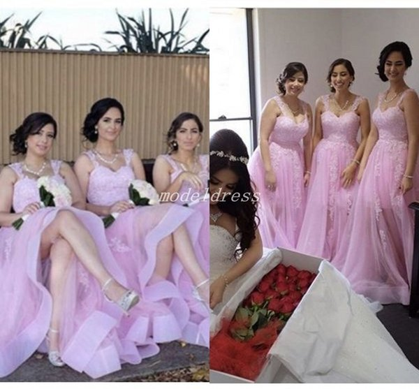 Pink Plus Size Bridesmaid Dresses 2019 Spaghetti Illusion Bodice Appliques  Garden Country Beach Wedding Guest Gowns Maid Of Honor Dress Blue ...