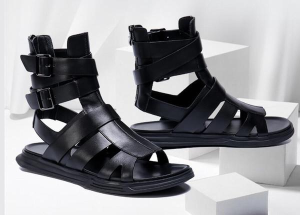 Hombre Nuevo estilo Moda de cuero Zapatos de verano al aire libre para hombres High Top Zip Rome Beach Sandalias planas masculinas