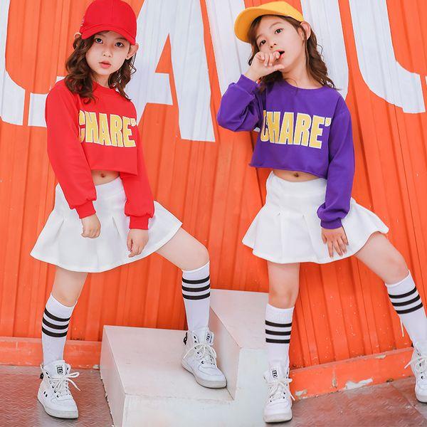 Kinder Hip Hop Kleidung Ballsaal Kostüme Weiße Röcke für Mädchen Jazz Dance Kleidung Lässige Crop Top T-shirt Dance Rock