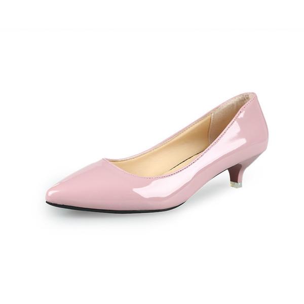 Compre 2019 Nuevos Zapatos De Mujer De Moda De Cuero Genuino Dentro De Tacones Bajos Mujeres Bombas Stiletto Zapato De Trabajo De La Mujer Punta