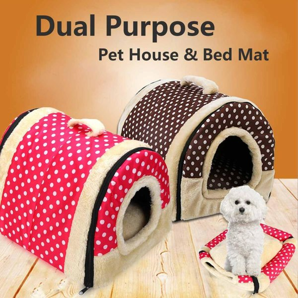 foldable pet dog cat bed house carry kennel nest sofa cushion soft warm with mat brown/pink oxford fabric keep pets warm secure