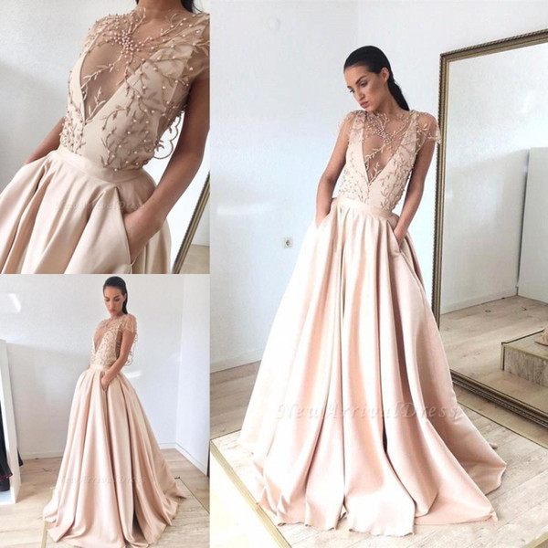 2019 Gorgeous Sheer Illusion Style Evening Dresses A Line Cap Sleeve Beads Pearls Appliques Satin Pageant Prom Gowns With Pockets BC1460