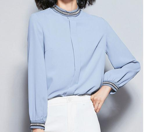 2019 Autumn Fashion Office Lady Shirts Casual Stand Collar Blue Women Tops Long Sleeve Beading Women Blouses 6171 50