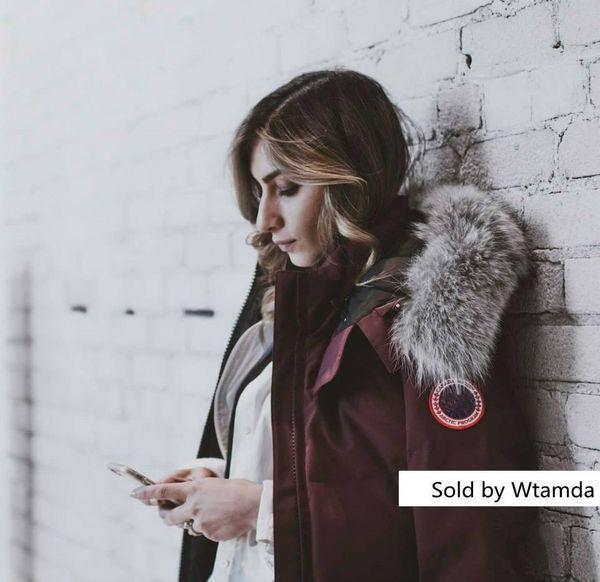 Manteau en duvet Parker couleur unie Canada Goose européenne S Sports de plein air froid manteaux en duvet