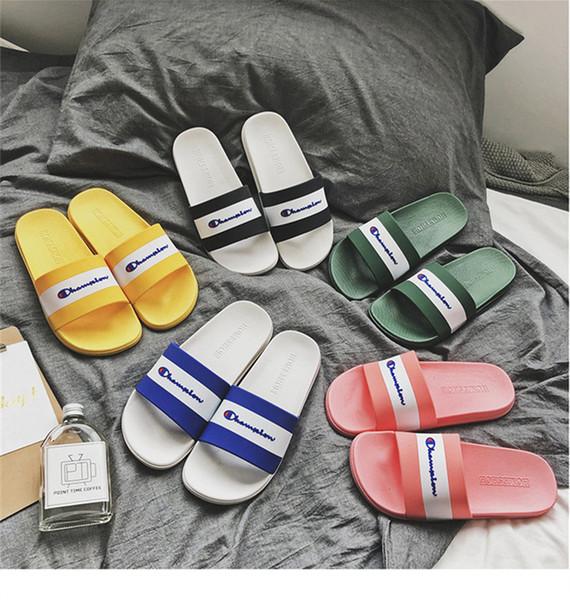 Champion Brand Mens Flip Flop Designer Sandals Unisex Slippers Women Soft Rubber Sole Sandal Luxury Fashion Summer Outdoor Beach Shoes C7304