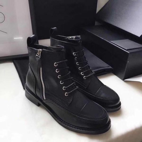 tbtgroup / Botas de diseñador de lujo botines con punta de charol de cuero botines de piel de becerro de Martin botas de combate con cordones negros con caja U