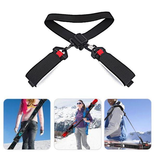 Ajustable para el hombro Esquí Polo mano Carrier Lash manija correas Porter Hook Loop Proteger Negro Nylon esquí asa Bolsas
