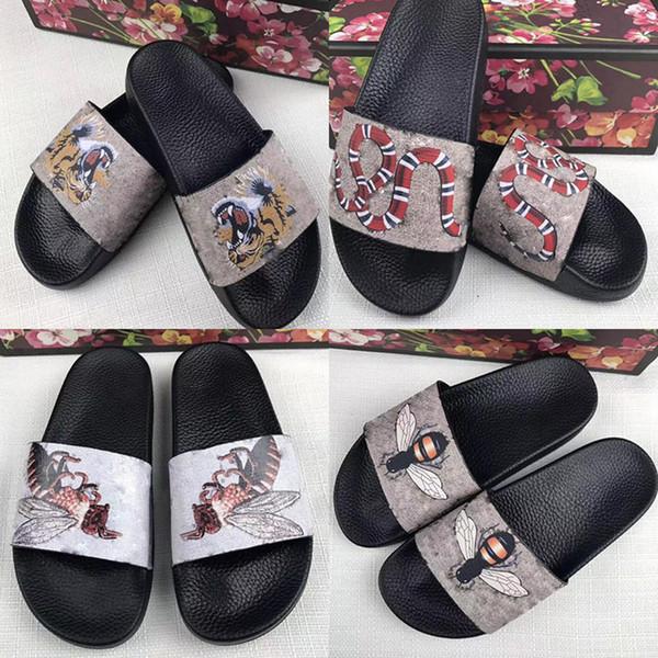 Men Women Sandals Designer Shoes Blooms Tiger Bees Snake Luxury Slide Summer Fashion Flat Thick Sandals Slipper Flip Flop GGSlippers GGFlipf