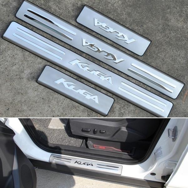 Guarnição da placa do Scuff do lado do peitoril da porta do aço inoxidável para Ford Escape Kuga 2012-2017 2GEN acessórios do carro