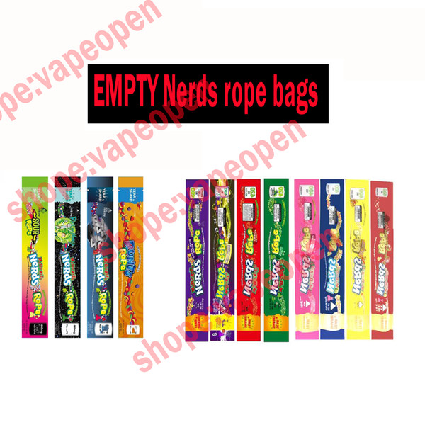 top popular Mix NEW types MEDICATED Nerds Rope Empty Packaging bas Nerds Rope Candy Nerdsrope Gummy bags Three edge-sealing bag foil Food package 2020