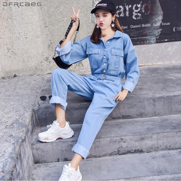 Fashion Streetwear Style Denim Overalls Women 2019 Autumn Long Sleeve Bodysuit High Waist Jeans Bodycon Romper Wide Leg Jumpsuit T190824
