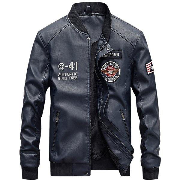 afs embroidery student baseball jackets men stand collar pu leather coats plus size 4xl fleece pilot leather jacket hombre