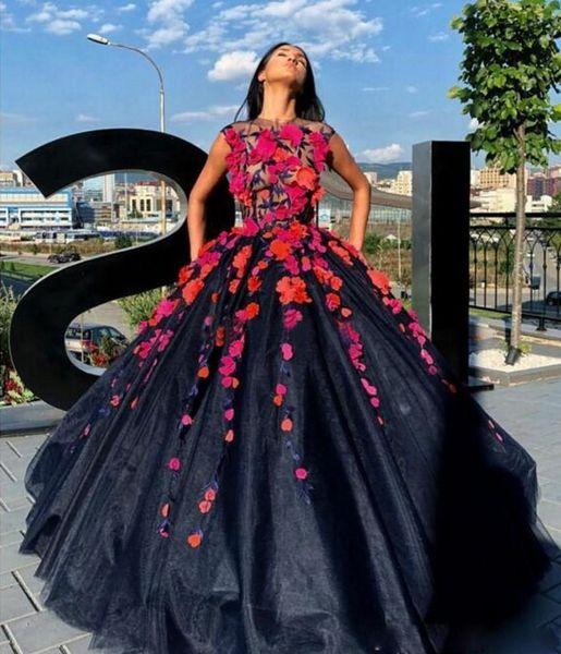 Fiori 3D Prom Dresses Tulle Pizzo puro Top Quinceanera partito del vestito A Line Jewel Prom Gown Ospite