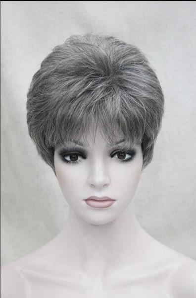 Pelucas de la marca WIG - Marrón oscuro con un 50% Gris Corto de mujer femenino Natural Higision peluca femenina