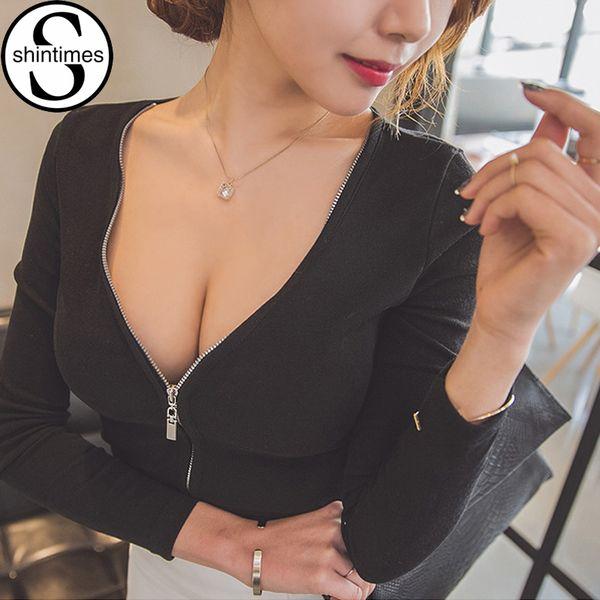 Sexy Black Top Zipper Deep V-neck Long Sleeve Tshirt Women T-shirt Tops T Shirt Korean Clothes Camisas Femininas 2018 Haut Femme Y19042101