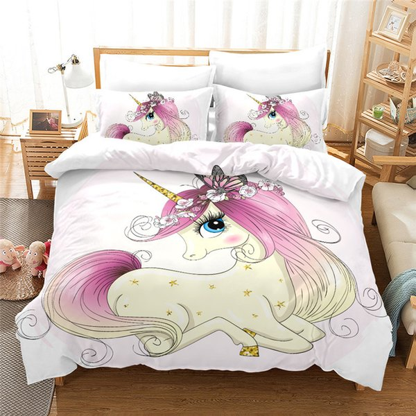 Ensemble de couette Licorne Ensemble de literie confortable Literie 3D King / Queen / Double / Single / Literie pour enfants