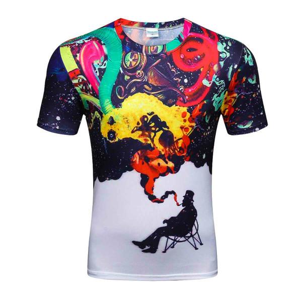 Бренд мода 2019 мужские 3D красочные дым курение печатных футболки Homme тройники топы высокое качество Оптовая мода размер M-4XL