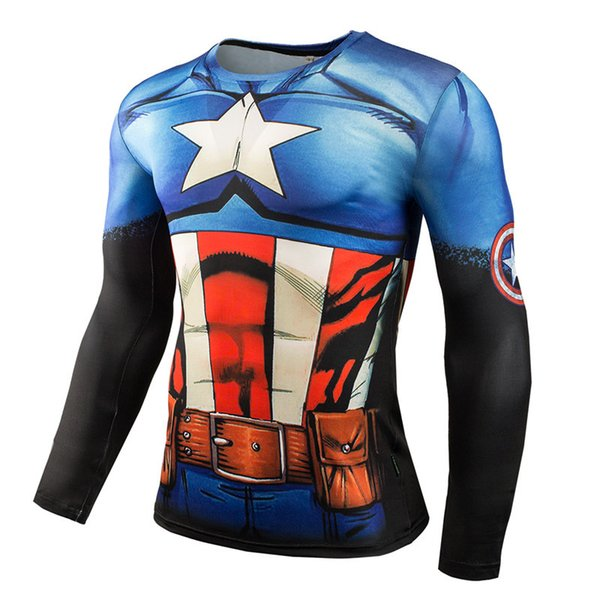 2019 Summer Marvel / 3D Print Maglietta a maniche lunghe a maniche lunghe da uomo Palestre da uomo MMAT a strati