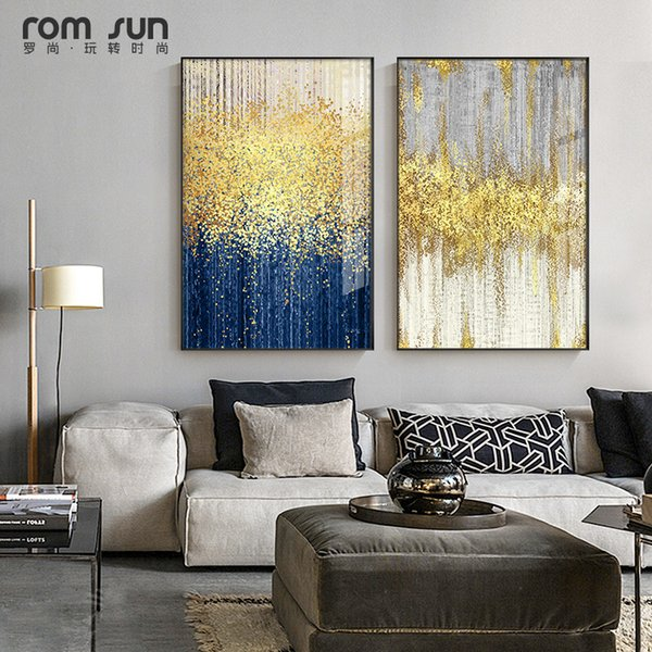2019 Abstract Blue And Grey Bright Color Drop Canvas Art Modern Painting Poster Print Living Room Aisle Entrance Artistic Wall Decor From Caley 33 6