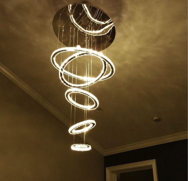 Anéis redondos LED Lustres 4 anéis ou 5 anéis de Cristal Levou Iluminação Do Candelabro AC85-265V incluem quente + frio branco DIY Estilo Tri-tom de luz