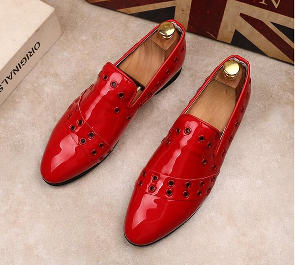 Brand Men leather Driving shoe Slip-On PU formal Suit Business dress Moccasins Flats men Casual Metal Buckle Horsebit Loafers,38-43