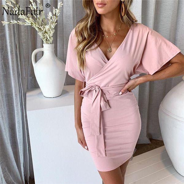 wholesale shirt dress women 2019 short sleeve casual t shirt bodycon dress v neck sash slim wrap mini summer dress pink black