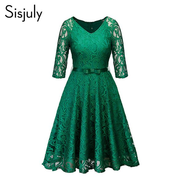 Women Evening Party Retro Gothic Black Navy Blue Green Hollow Out Floral Lace Dress Bow Ribbon Belt Spring Summer Work Dresses J190509