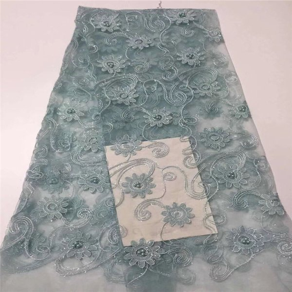 NEW African Lace Fabric, French Sequins green Net Lace Noble beads Fabrics High Quality African Black Tulle Sequins Lace Fabric