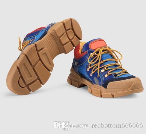 Sneaker di design in pelle Rhyton Vintage Trainer con stampa bocca Strawberry Tiger Web uomo donna Scarpe casual Sneakers oversize 35-46