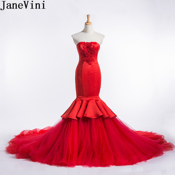 JaneVini Red Mermaid Evening Dress With Detachable Skirt Long Saudi Arabia Robe Court Train Beaded Lace Prom Dress Party Formal