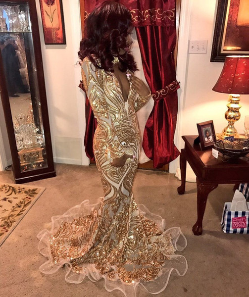Sexy Design Gold Mermaid Prom Dresses 2019 Plunging V Neck Full Lace Long Party Gowns Evening Wear For Black Girls DP0367