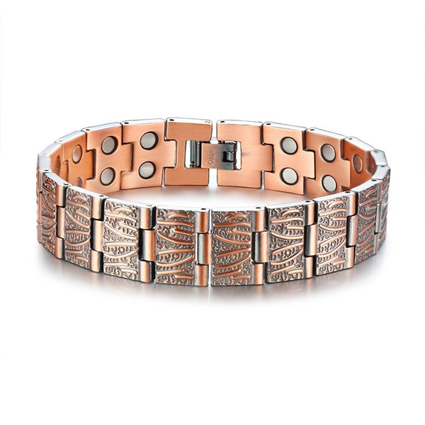 Hip Hop Rock Yellow Gold Copper Material Magnet Germanium Health Bracelets for Men Fashion Casual Jewelry Drop shipping