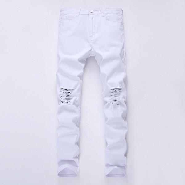 Mens di marca del progettista nero jeans skinny Ripped Distrutto Stretch Slim Fit Hop Hop pantaloni con fori per gli uomini 27-38