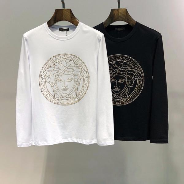 T-shirt da uomo girocollo a maniche lunghe t-shirt girocollo maniche lunghe da uomo in cotone 2019