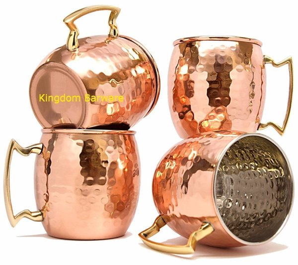 Free Shipping 4 Pcs 450ml Copper Plated Barrel Hammered Moscow Mule Mug Coffee Cup Beer Cup Set Of 4 C19041302