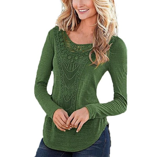 Autumn Women T Shirt Nice New Fashion Long Sleeve Sexy Solid Top Womens Hollow Out Black Green Khaki Shirts Party