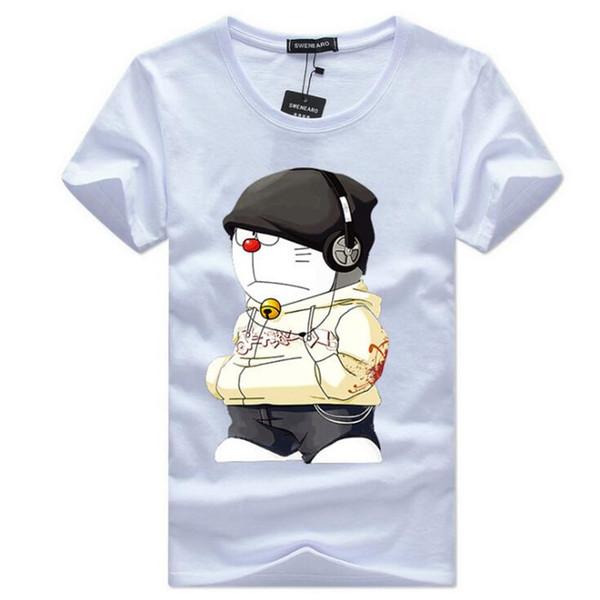 2019 Eté Hommes T-Shirts Plus La Taille 4XL-5XL Tee Shirt Court Long line line headset impression de bande dessinée Vêtements Homme Tee Shirt BY4