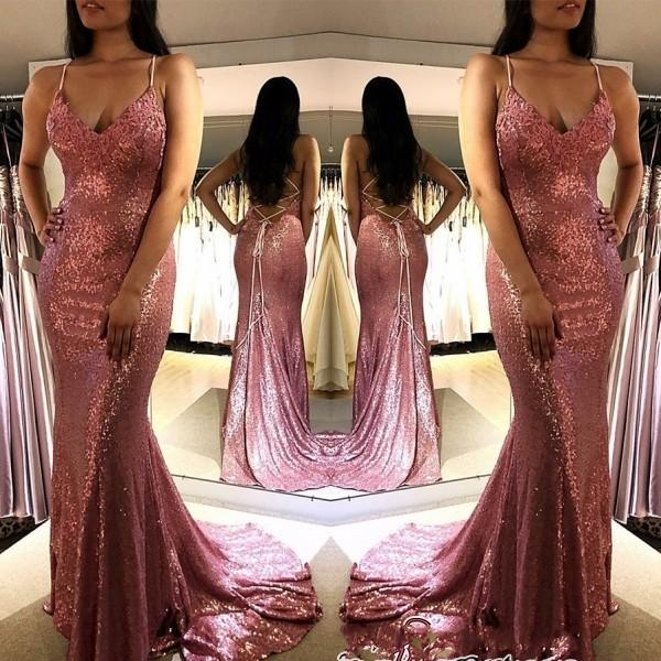 Sequined Mermaid Prom Dresses Long 2019 Sexy Spaghetti Straps Criss Cross Back Pink Sequin Formal Evening Gowns Sparkly Cocktail Party Dress
