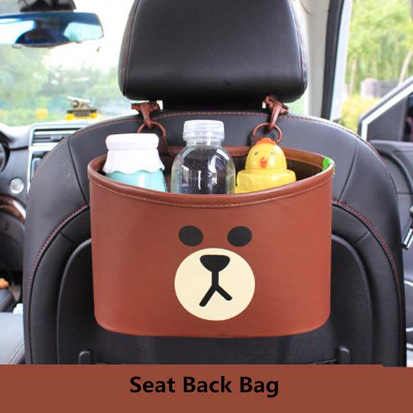nterior Accessories Stowing Tidying Cartoon Brown Bear Chicken Car Backseat Hanging Storage Bags Leather Auto Bottle Organizer Organizers...