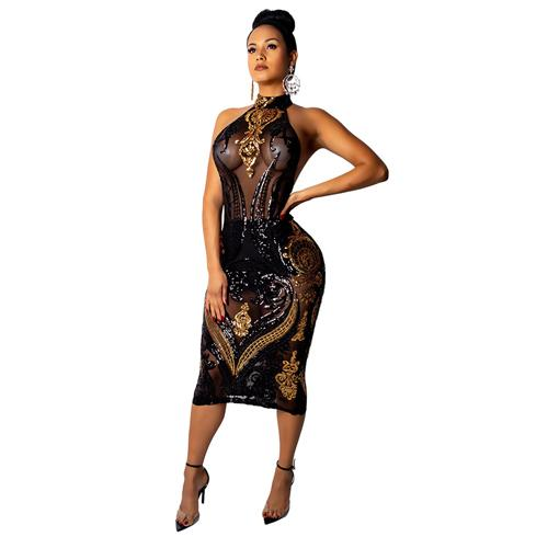 Backless Transparent Sequins Dress for Women Night Out Bodycon Sleeveless Midi Sheer Transparent Sheer Club Dresses 2019 New Arrival