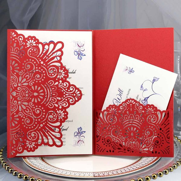 Elegant Hollow Laser Cut Wedding Invitation Card Greeting Card Customize Business With Rsvp Party Supplies 18 12 5cm Greetings Online Handmade
