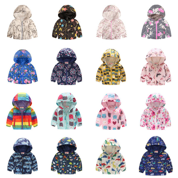 best selling Kids Boys Girls Jacket 39 Colors Hooded Cartoon Flower Butterfly Printed Coat Long Sleeve Zipper Casual Jacket Baby Outwear